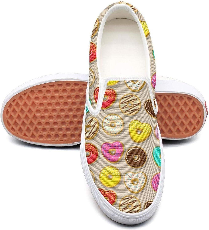 Lalige Pink red Donut pop Heart Cake Women Vintage Canvas Slip-ONS Walking shoes