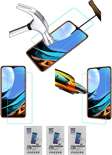 Acm Pack of 3 Combo Tempered Glass Screenguard Compatible with Xiaomi Redmi 9 Power Mobile Screen Guard
