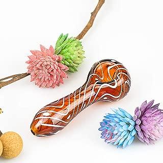 4-inch Portable Glass Art Tube, Brown Spiral Pattern Series