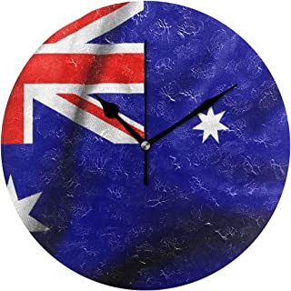Ladninag Wall Clock Flag of Australia Silent Non Ticking Decorative Round Digital Clocks Indoor Outdoor Kitchen Bedroom Living Room