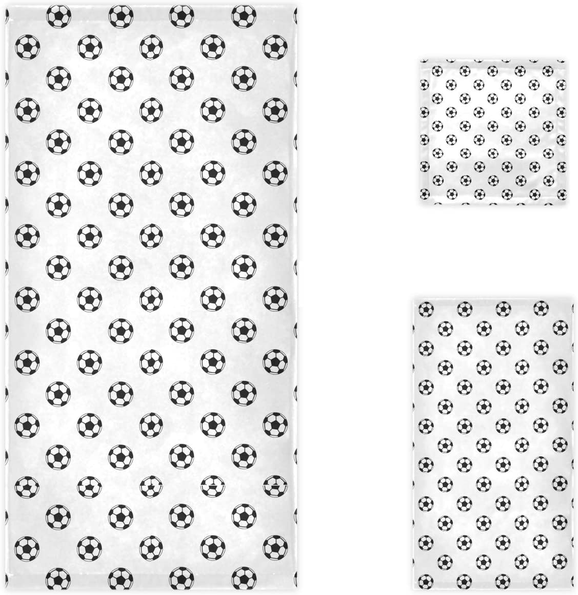 Naanle Simple Football Ranking TOP16 Pattern Soft 3 Towels Decorative Year-end annual account Set of