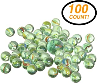 RamPro 100 Pieces Glass Marbles - Marble Balls Glass Mega Marbles Toy, Shooter Marbles for Marbles Game, Classic Marbles Table Scatter Colored Glass Marbles & Beautiful Marbles Toys