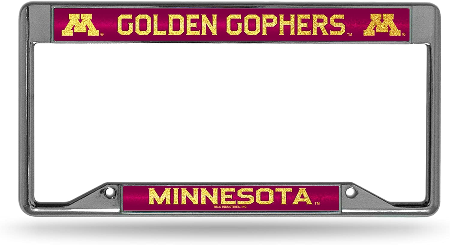 NCAA Minnesota Golden Gophers Bling Frame License Industry No. 1 Chrome Plate w Opening large release sale