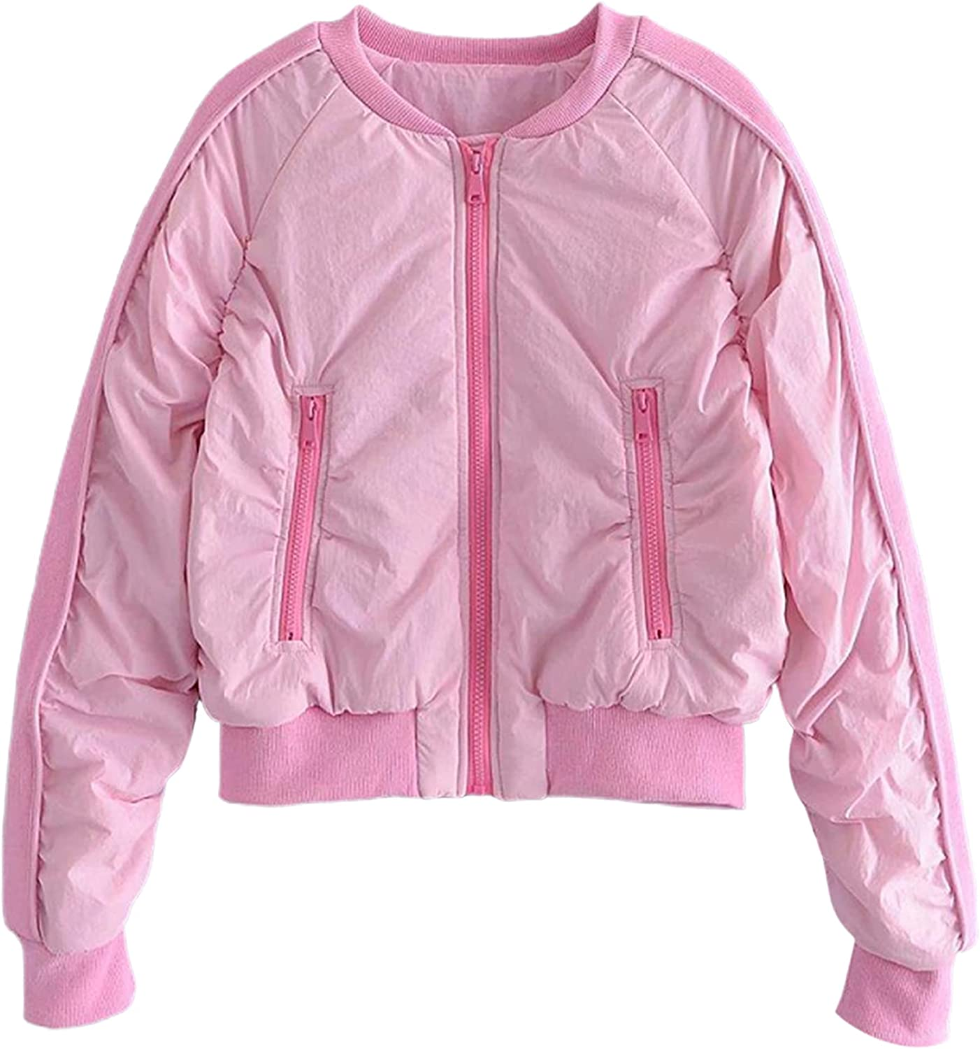 SCUSTY Women's Lightweight Ruched Patchwork Quilted Bomber Jacket Coat Outerwear