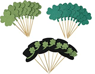 St.Patrick's Day Cupcake Toppers Glitter Clover Leprechaun Hats - Shamrock Saint Paddy's Day Party Supplies Cupcake Decorations 24 Pcs