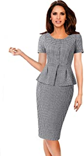 Womens Elegant Peplum Buttons Slim Work Business Office Sheath Dress