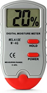 Digital Moisture Meter WELAISE Wood Water Moisture Tester with HD Digital LCD Display,4 Spare Sensor Pins for Different Materials, Range 5% - 40%, Accuracy: +/-1%