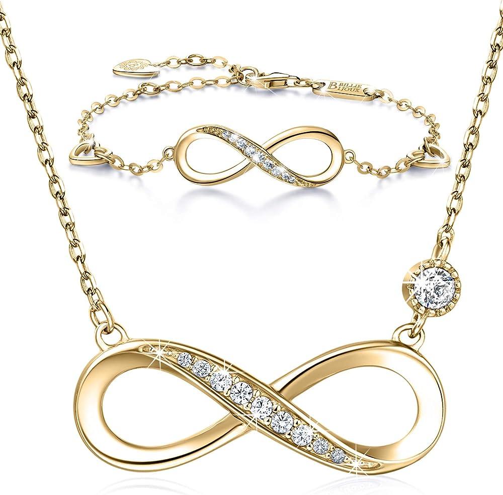 Billie bijoux bracciale e collana in argento sterling 925 placcati oro ABS001
