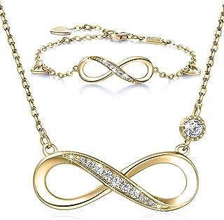 Juego de collar y pulsera de plata de ley 925, diseño de corazón infinito, chapado en oro blanco, collar para mujer
