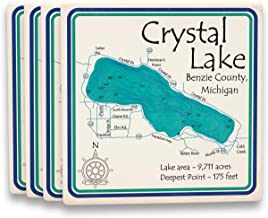 Davern Lake in ONTARIO, CN (1666 LA) - Square Coasters 4.25 x 4.25 IN Set of 8 - Nautical chart and topographic depth map.