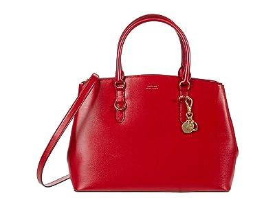 LAUREN Ralph Lauren Saffiano Double Zip Satchel Large (Red) Satchel Handbags