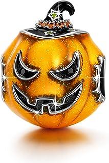 NINAQUEEN The Light of Halloween 925 Sterling Silver Halloween Pumpkin Charms, Best Halloween Jewelry Gifts for Women
