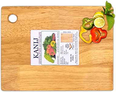 KANIJ® Wooden Cutting Board with Finger Hole Chopping Board for Kitchen Vegetable Fruit Bread Meat Cheese Pizza and Also Serv