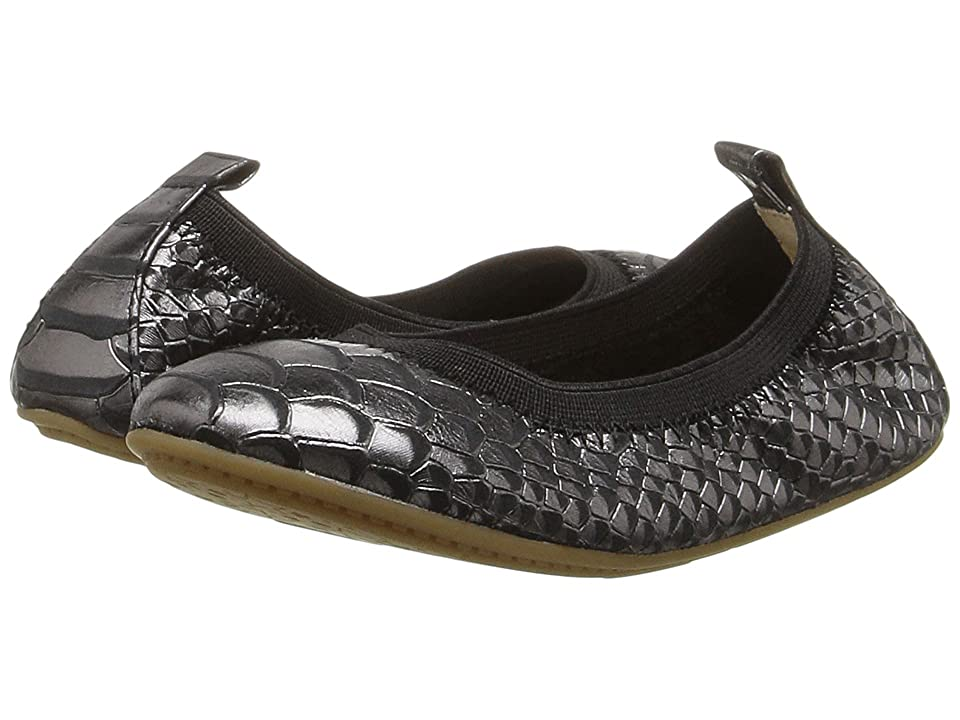 Yosi Samra Kids Sammie Frosted Python Embossed Leather Flat (Toddler/Little Kid/Big Kid) (Black) Girls Shoes