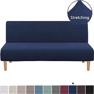 H.VERSAILTEX Armless Futon Cover Stretch Sofa Bed Slipcover Protector Elastic Feature Rich Textured Lycra High Spandex Small Checks Jacquard Fabric Sofa Shield Futon Cover, Machine Washable, Navy