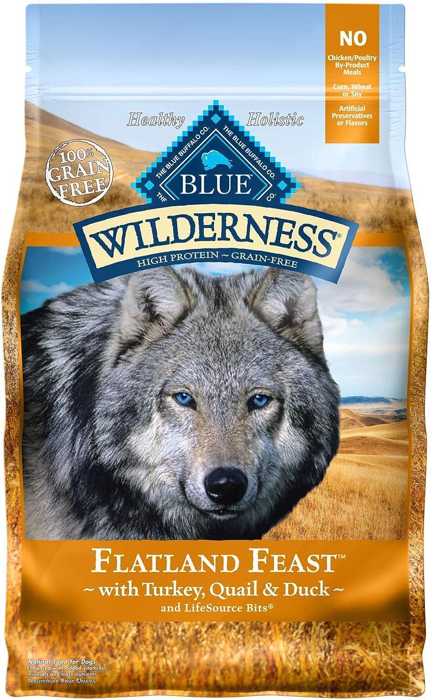 bluee Wilderness GrainFree Flatland Feast with Turkey, Quail & Duck Dry Dog Food 4lb