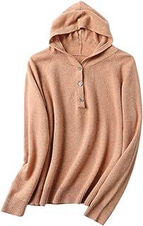 Suéter Lana conCapucha para Mujer Cuello en V Moda Pullover de Manga Larga Sudaderas Tops de Punto Otoño Lnvierno