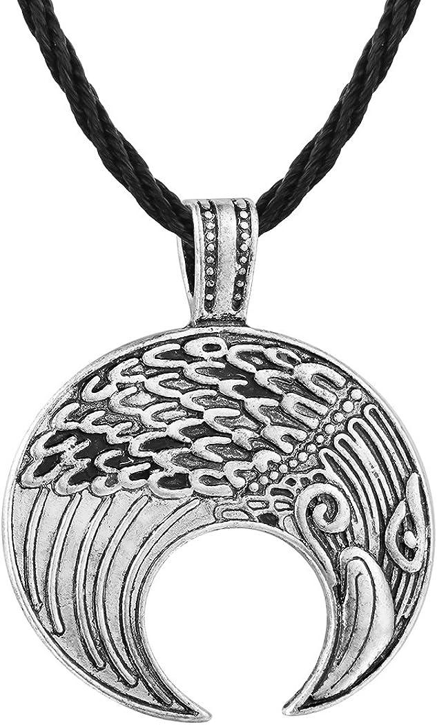 Qiandi Slavic Raven Lunula Crescent Moon Friendship Pendant Necklace Men Amulet Nordic Viking Birthday Gift