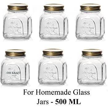 STAR WORK 500 ML Square Cube Transparent Clear lid Glass Jars and Container Pack of (6)