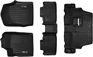 MAXLINER Floor Mats 3 Row Liner Set Black for 2013-2016 Dodge Durango with Front Row Dual Floor Hooks and 2nd Row Bench Seat