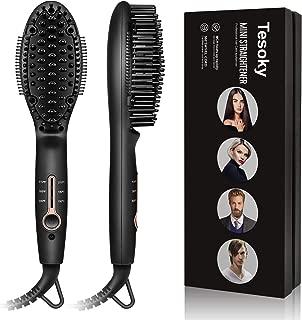 Hair & Beard Straightener Brush, Tesoky Hair Straightening Brush Beard Straightening Comb Fast Heated Electric Hot Hair Brush Multifunctional Hair Styler Shaping Tools for Men and Women (Black)