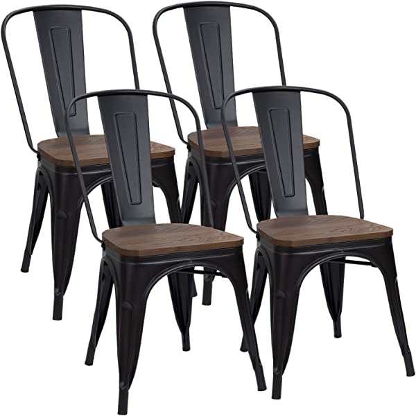Furmax Metal Dining Chair Indoor Outdoor Use Stackable Chic Dining Bistro Cafe Side Metal Chairs Set Of 4 Black