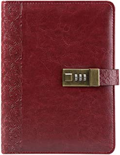 Lock Diary Digital Password Notebook Leather Binder Retro Privacy Combination Refillable Locking Journal by CAGIE,Wine Red