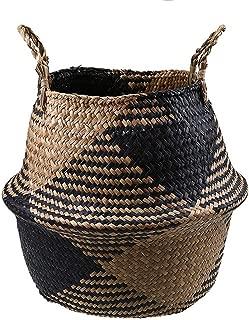 TOKYO HOT Foldable Handmade Storage Basket Folding Wicker Rattan Seagrass Belly Straw Garden Flower Pot Planter Laundry Basket,F,38X34 cm