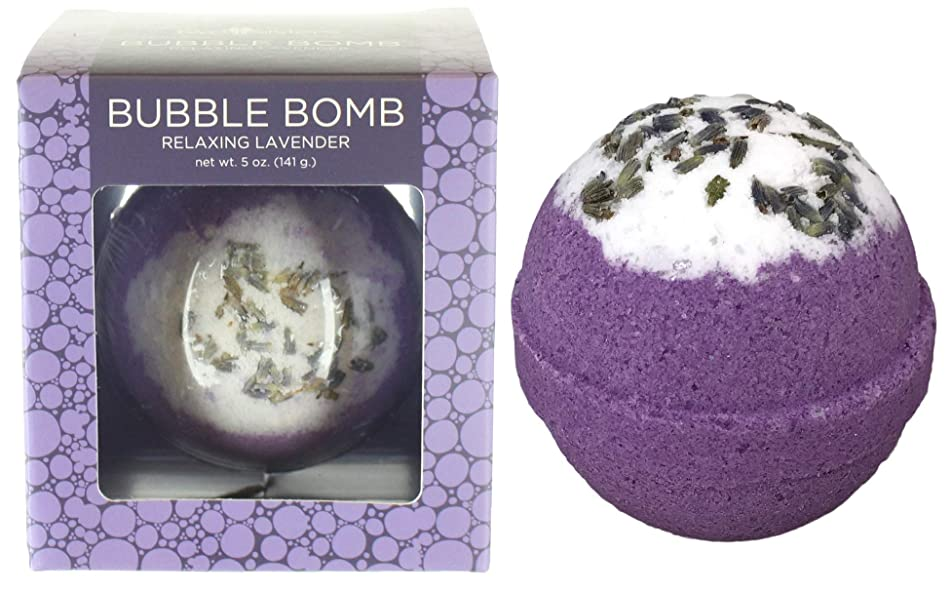 Relaxing Lavender BUBBLE Bath Bomb in Gift Box. USA Made Large Lush Spa Fizzy Handmade Gift Idea for Her, Wife, Girlfriend. Releases Purple Color, Scent and Bubbles in Bath. Essential Oil Moisturizing