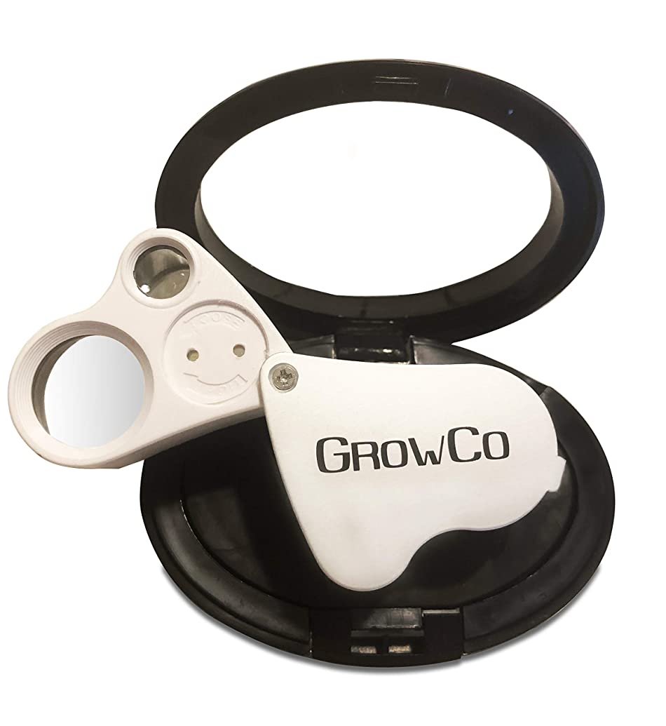 LED Jewelers Loupe & Trichome Magnifier With Case 30X 60X - Dual LEDs - Great for Jewelry, Gems, Rocks, Stamps, Coins, Watches, and Antiques - Check for Trichome Color, Bugs, Mold, or Mildew on Plants