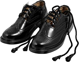 Black Synthetic Leather Ghillie Brogues Scottish Kilt Shoes