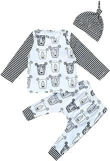 NIHINTE Baby Boy Girls Bear Pajamas Striped T-Shirt Pants Set with Hat 3Pcs Outfit