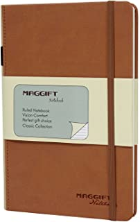 Maggift Hardcover Notebook, Thick Classic Notebook with Pen Loop - Ruled Hardcover, Fine PU Leather, 240 Pages, 8.5 x 5.7 in, Khaki
