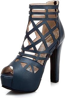 Sandales sexy à fermeture éclair Bloc talon Peep Toe Talon Haut Plateforme Soirée Femme Escarpins Z30391