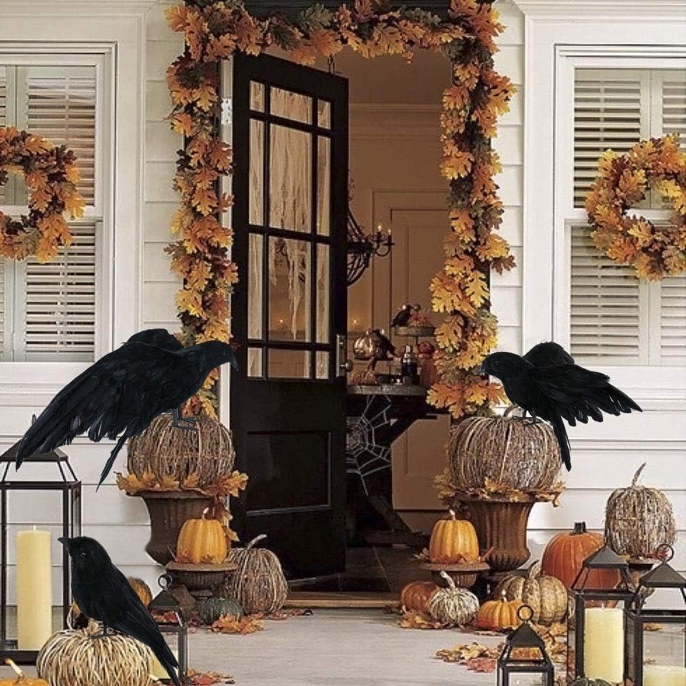 decoraci/ón de fiesta espeluznante para el hogar MAGT Cuervos de plumas de aspecto realista ojos rojos p/ájaros cuervos con plumas negras para decoraci/ón de Halloween