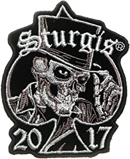Sturgis 2017 Patch Tall Hat Skull - Iron on Patch - 2.5x3 inch