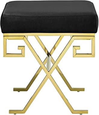 Modway Twist Greek Key X-Base Performance Velvet Upholstered Entryway Modern Bench in Gold Black