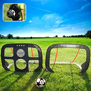 WISHOME 4ft Foldable Kids Pop-Up Soccer Goals for Backyard Outdoors Portable Square Soccer Net with Carrying Bag Practice Training Sports Toys Gift for Kids (Set of 2)