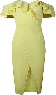 7TECH Double Frilled Hip Front Split Dress, Light Yellow