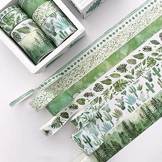 8 cintas adhesivas de hojas verdes de cactus, para manualidades, álbumes de recortes, etiquetas B