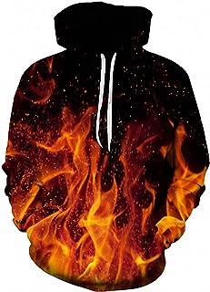 Loveternal Unisex 3D Print Hoodie Cool Lightweight Pullover Hooded Sweatshirt