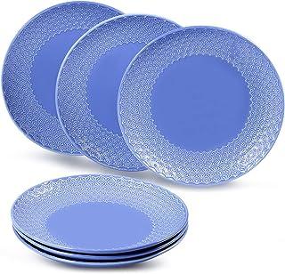 """suntun Assiettes Plates Porcelaine 6 pièces, 10"""" Assiette à Dinner Bleu Royal Assiettes de Présentation, New Bone China As..."""