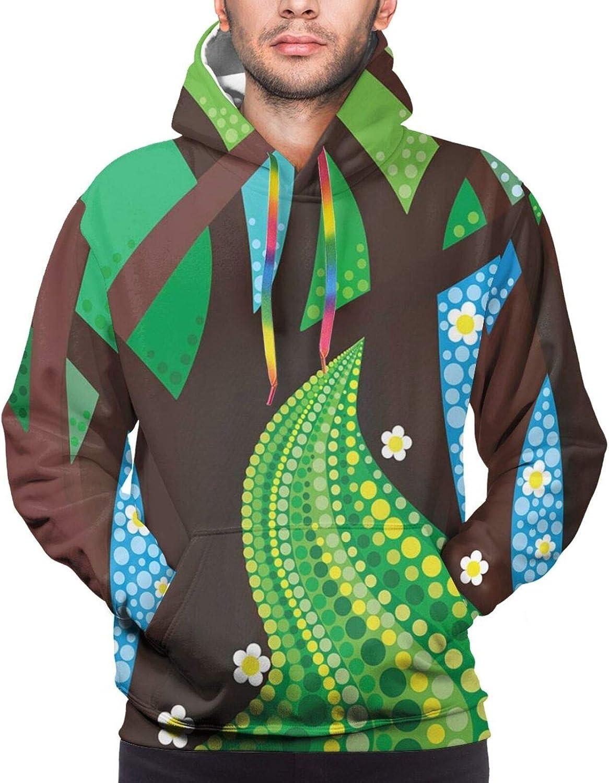 Men's Hoodies Sweatshirts,Abstract Wooden Backdrop with Hawaiian Romantic Flowers Buds Blooms Leaves