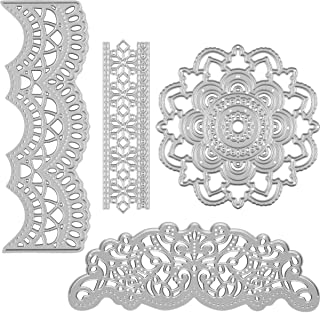 Apipi 4 Pieces Lace Edge Die Cuts- Metal Lace Shaped Embossing Dies, Carbon Steel Cutting Dies Stencil Template for Scrapbooking, DIY Crafts, Card Making