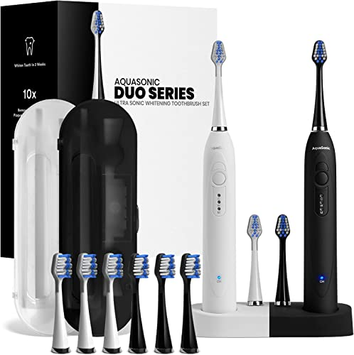 2021 AquaSonic Duo Dual Handle Ultra Whitening 40,000 VPM Wireless Charging Electric ToothBrushes - 3 Modes with Smart Timers - 10 Dupont Brush Heads online sale & wholesale 2 Travel Cases Included sale