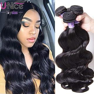 UNice Hair Kysiss Series Brazilian Body Wave Hair Weave 3 Bundles 100% Virgin Human Hair Weaving Extensions Natural Color (8 10 12)