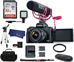 $739 Get Canon EOS M50 Mirrorless Digital Camera with 15-45mm Lens Video Creator Kit - Black (USA Warranty) Bundle, Includes: 32GB SDHC Class 10 Memory Card + Tripod + Spare Battery + LED Ligth + More