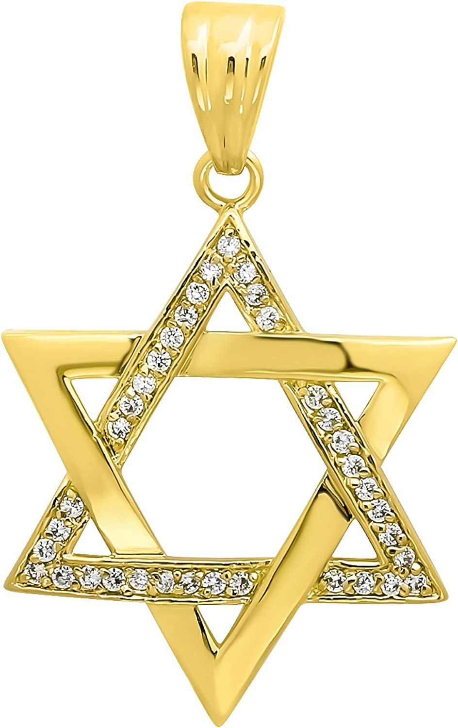 The Sale SALE% OFF Bling Quantity limited Factory 40mm 14k Gold Star David Plated Cubi of Jewish