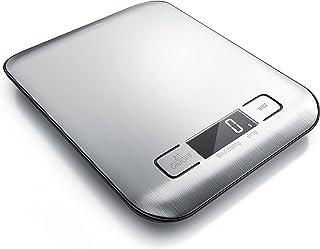 Arendo - Edelstahl Küchenwaage digital – 18 x 14 cm - weißes LED Display mit Hintergrundbelechtung – Tara Zuwiegefunktion – 2 Buttons - Auto Off – g / oz / ml / lb:oz