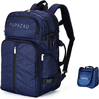 PAPAZAU 40L Travel Backpack Flight Approved Carry on Backpack Weekender Bag for Women Men One Toiletry Bag Included(Blue)